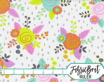 PINK and MINT Boho Chic Modern Floral Fabric by the Yard Fat Quarter Flowers Fabric 100% Cotton Quilting Fabric Apparel Fabric Yardage a2-15