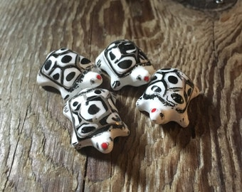Hand Painted Chinese Porcelain Turtle Beads - Black & White - Center Drilled - 25x20x10mm - 2 Beads per Order