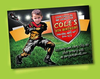 Lacrosse Invitation - Lacrosse Party - Lacrosse Birthday - Sports Birthday - Printable Party - Lacrosse