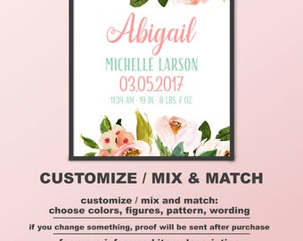 Floral Birth Announcement wall art, bohemian Baby Girl Gift, floral Baby Stats art, boho chic baby wall art, flower baby print PRINT/CANVAS