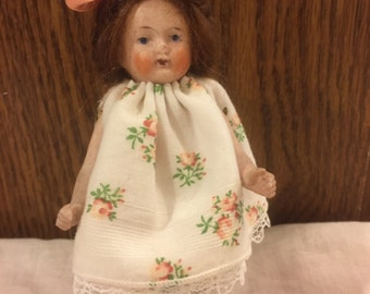 "Antique German all bisque 5"" doll house doll"