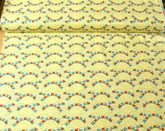 Riley Blake 'DISCOUNTED Price' Scoot C2725 Trains on Yellow Patchwork Quilting Fabric