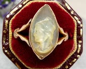 Antique  Victorian 9ct Gold Carved Mother of Pearl Cameo Navette Ring  Size P