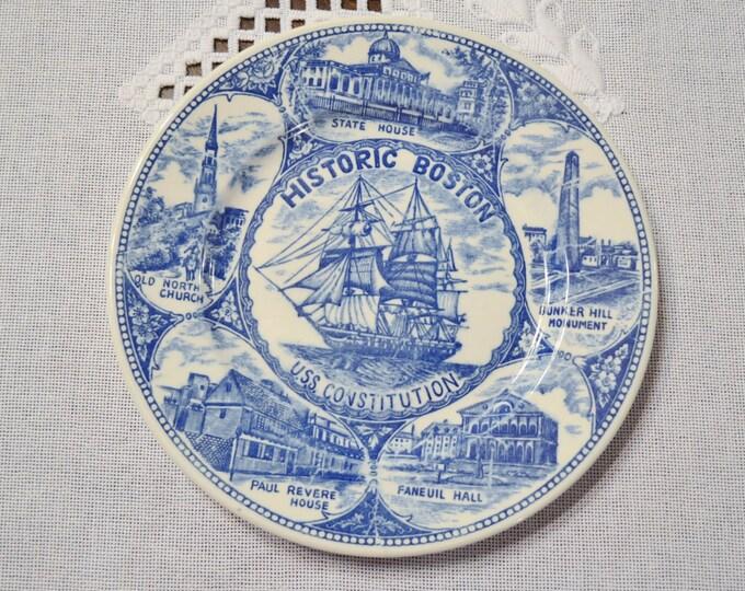 Vintage Blue White Decorative Plate Boston USS Constitution Collectible Travel Souvenir PanchosPorch
