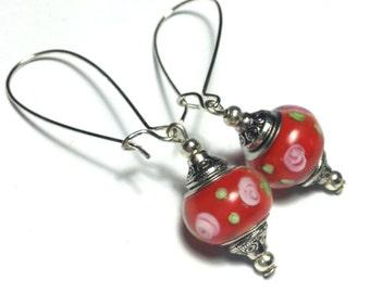Long Red Earrings, Glass Beads, Vintage Style Silver Tone - Kidney Hooks (ET8-13)