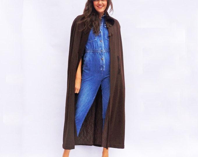 Long Wool Coat, Vintage 1970s Wool Winter Cape, Cape Coat Women, Winter Coat, Brown Long Coat, Maxi Cloak, Wool Cloak, Vintage Cloak, 70s