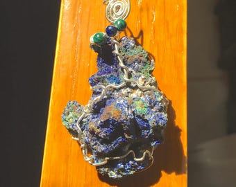 Azurite Malachite, Wire Wrap, Sterling Silver, Raw Stone, Blue Drusy, Natural Stone, Free Form Wrap, Silver Spirals, Hand Wrapped, Necklace