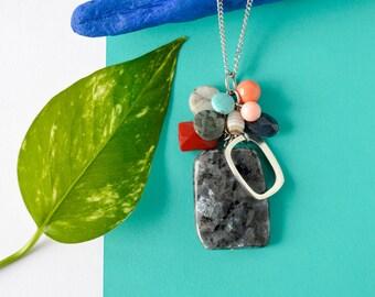 Colorful cluster pendant, multi gemstones necklace, labradorite larvikite, swarovski pearl, stainless steel chain, removable pendant, pyrite