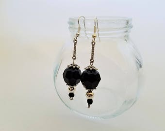 Handmade Black and Silver Dangle Earrings, Drop Earrings