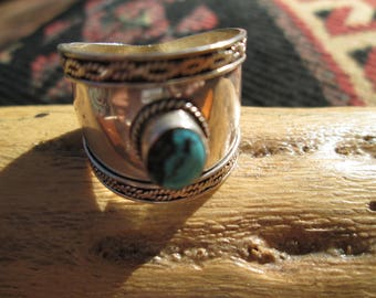 Turquoise and Sterling Silver Mens Cigar Band Ring Size 11.5