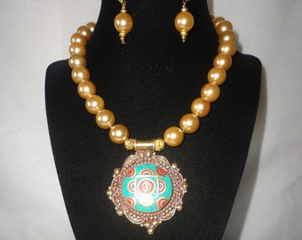A Stunning Coaded Gold Pearls Turquoise Coral Pendant Necklace****