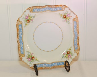 Vintage Noritake Square Luncheon Plate (c. 1930's) Japan,  Fine China, Gold Trim, Cottage Charm Floral, Gold and Blue Band, Country Cottage