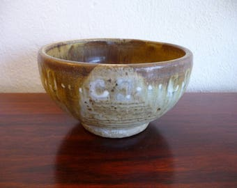 Mid Century Pot in Green and Brown Lava Glaze