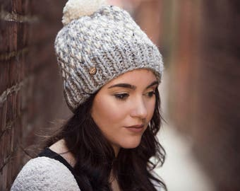 Light Grey and White Polka Dot Pom Pom Hand Knit Hat