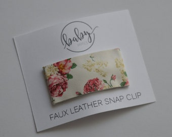 Snap Clip- Cream Floral Faux Leather- Single Hair Clip