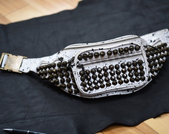 Studded Leather Money Belt~Leather Studded Belt Bag~Splatter White Leather~Vedora~80s Fanny Pack~Surf Punk Studded Belt Bag