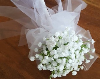 Flower Girl Floral Wand -  White Baby's Breath Flower Wand for Flowergirl, Wedding Flowers for Flowergirl