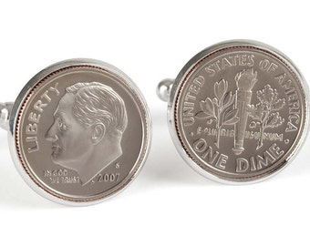 2007 Cufflinks, Tin Anniversary Gift, 10 year Anniversary Gift, Aluminum Anniversary Gift, Dime Coin Cufflinks, 10th Anniversary Gift