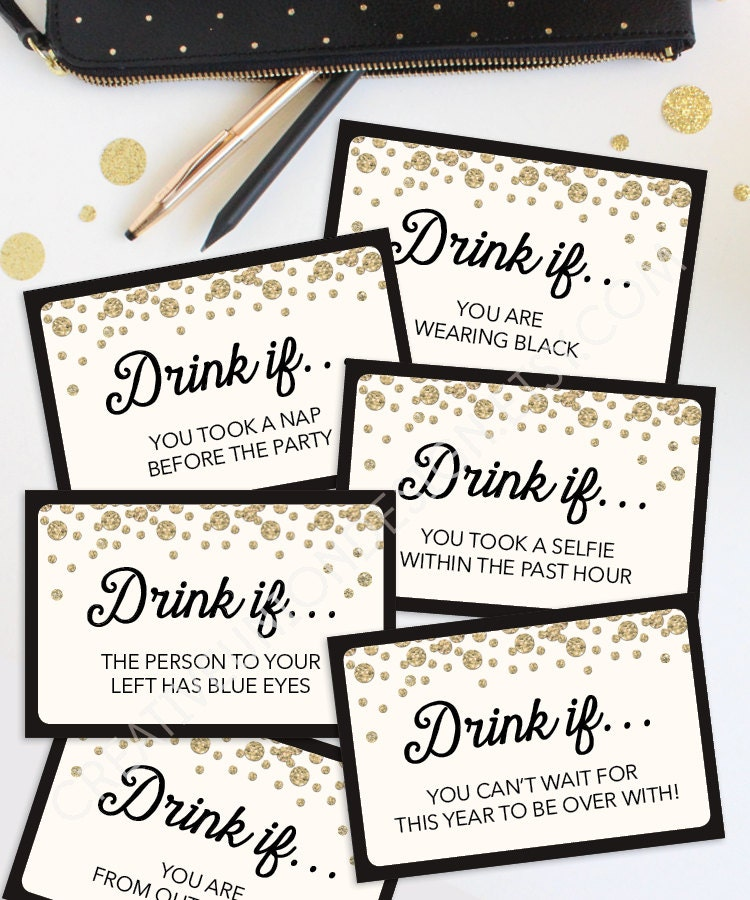 New Years Eve Party Game Drink If Game Printable New Years