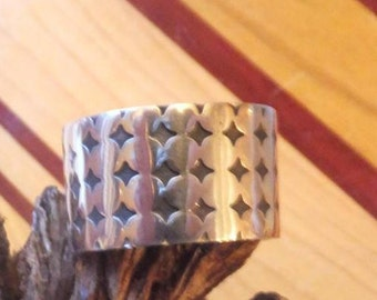 Gorgeous Wide Sterling Band,,,,, size 12 only