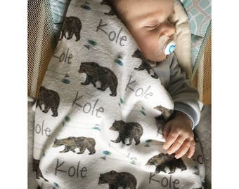 Baby Name Blankets // Baby Boy Blanket Personalized Baby Blankets Boy Custom Name Baby Blanket Personalized Baby Gifts- Bear w/Arrows