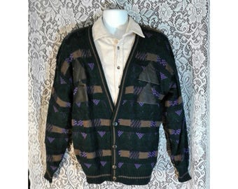 Mens Vintage Sweater, Grandpa Sweater, Mens Cardigan, Cardigan Sweater, Black Patterned Sweater, Mens Button Down Sweater, Mens Size Large