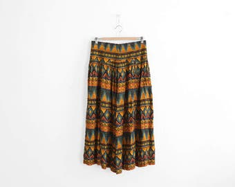 Vintage Summer Skirt - Long/High Waisted - Tribal Print - 100% Rayon