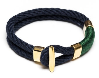 Nautical Rope Bracelet / Nautical Jewelry / Navy Blue Rope Bracelet / Gold T Bar Clasp Bracelet / Green Rope Bracelet / Nautical Gift