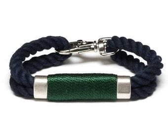 Nautical Rope Bracelet / Hunter Green Rope Bracelet / Navy Blue Rope Bracelet / Silver Nautical Bracelet / Nautical Jewelry / Nautical Gift