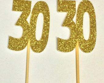 30 Gold Glitter Cupcake Topper / 30th Birthday / 30th Anniversary