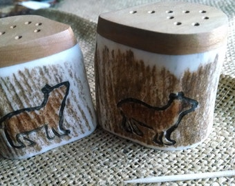 Salt and Pepper Set, Elk Antler and Idaho Wild Cherry hardwood, with carved/painted bears, natural color shakers, flat tops