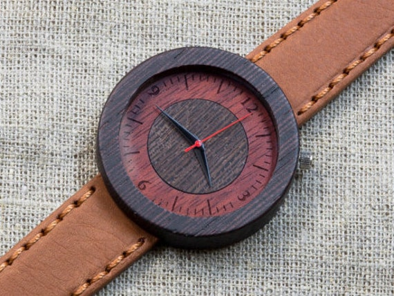 "Wood watch ""CapeTown"", Wenge Majestic Watch, Terracotta  Genuine Leather strap + Any Engraving / Gift Box. Christmas   gift"