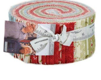 """MINICK & SIMPSON  2017 Snowfall Collection Jelly Roll 40 ( 2.5"""" x 44/45"""") Fabric Strips by For Moda Fabric"""