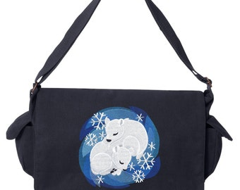 Cuddle Bears, Polar Bear Bag, Polar Bear Messenger Bag Embroidered Canvas Cotton Messenger Bag