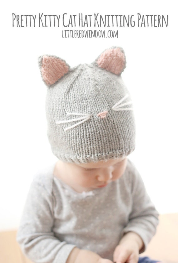 Kitty Cat Baby Hat KNITTING PATTERN - knit cat hat pattern for babies, infants, toddlers - sizes 0-3 months, 6 months, 12 months, 2T+