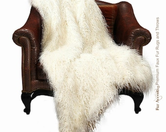 Luxurious Faux Fur Throw Blanket  - White Off White - Long Hair Shaggy Mongolian Shag Backed with Minky Cuddle Fur - Fur Accents Designs USA