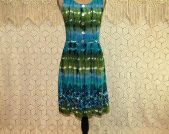 Womens Summer Dress Hippie Boho Batik Rayon Sleeveless Casual Midi Dress with Pockets Beach Dress Blue Green Small Medium Womens Clothing