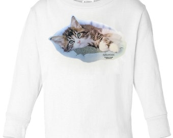 Toddler / Kids Kitten Shirt - Long Sleeve T-Shirt with Glitter Accented Kitten - Spring Clothing for Children