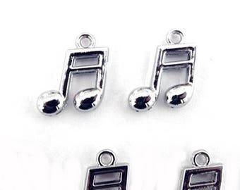 Music Note Charms, Semi quaver, Silver charms, 5 pcs, quavers