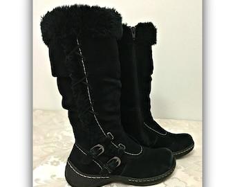 Womens black boots, Black fur boots, Women's size 6 1/2 boots, Womens moccasins boots, Black moccasins, Womens Black leather boots