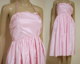 Vintage 80s Dress Pastel Pink Taffeta Knee Length Tiny Fit Halter Neck Vtg Retro 1980s Size XXXS-XXS