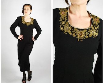 1940's Dress - 40's Black Wiggle Dress - Black Gold Embellished Beaded Dress - Size Large - AS IS