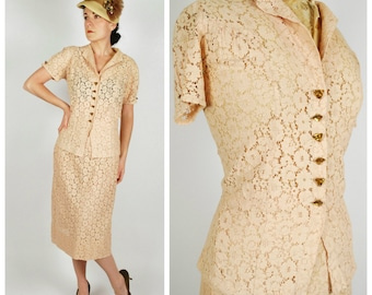 1930's Lace Suit - 30's 2 PC Skirt Set - Peach Ecru Wedding Set - Size L/XL