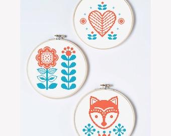 Baby cross stitch patterns set of 3, Modern cross stitch Counted cross stitch Fox cross stitch Baby girl pattern Scandinavian Scandi nursery