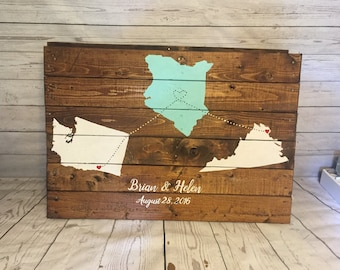Personalized wedding Map, Alternative guestbook, Map art, Anniversary Map, Wood pallet 3 State Guest book sign, Valentines gift