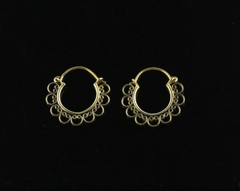 Small Hoop Style Earrings,  Lightweight Decorative Earrings, Filigree Handworked, Nickel Free Brass SSA12