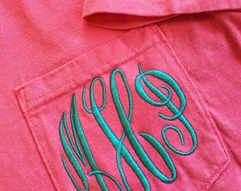 Monogram Shirt For Women - Multiple Colors - Monogram Shirt - Monogrammed Pocket Tee