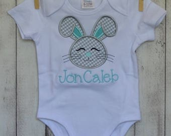 Personalized Easter Bunny Applique Shirt or Onesie Girl or Boy Add Skirt, Shorts, Pants, or Capris