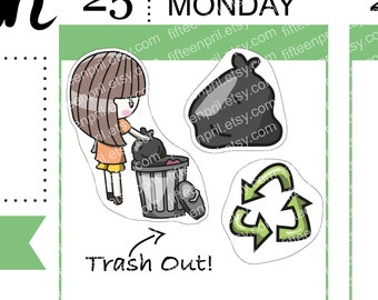 Trash out/recycle foxigirl stickers -J579-J067