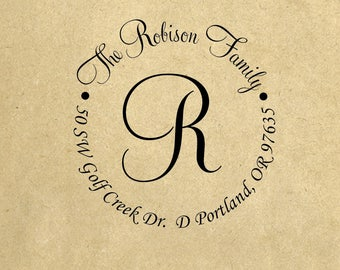 Custom Family Initial Name Return Address Stamp, Personalized Self Inking Stamp, Custom Calligraphy Wedding Stamp, Personalized Stamp R486